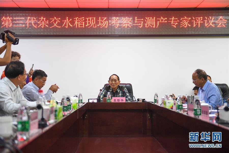 (图文互动)(3)1046.3公斤!袁隆平第三代杂交水稻首次公开测产