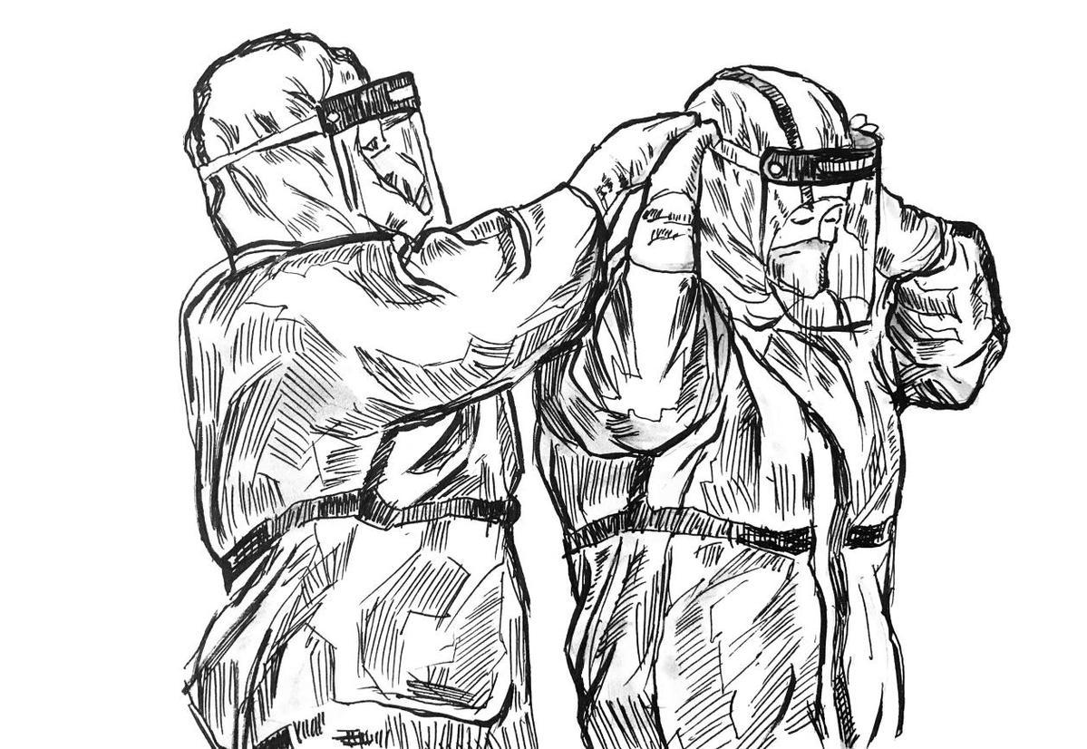 大学教师30幅钢笔画作再现武汉战 疫 的英雄瞬间