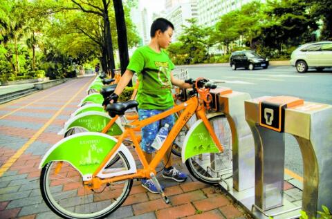 (图为罗湖区公共自行车租赁站点。——刘羽洁 摄)